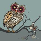 Dekorativ Owl och mus. Tecknad filmillustration. Royaltyfri Foto