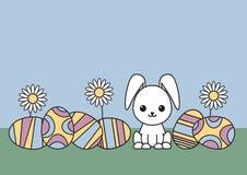Dekorativ påskbakgrund med ägg och kanin Passande för vykortdesign royaltyfri illustrationer