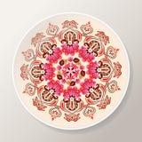 Dekorativ platta med den ljusa blom- mandalaen Färgrik rund prydnad också vektor för coreldrawillustration royaltyfri illustrationer