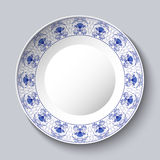 Dekorativ porcellaneous maträtt med den blåa blom- modellen i kinesisk målning för etnisk stil på porslin eller rysk stil Gzhel vektor illustrationer
