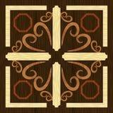 Dekorativ prydnad för Wood konstinlägg, geometriska modeller från mörker och ljust exotiskt trä i antikvarisk stil vektor illustrationer