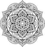 Dekorativ prydnad i etnisk orientalisk stil Rund modell i form av mandalaen för henna, Mehndi, tatuering, garnering royaltyfri illustrationer