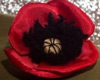 Dekorativ röd vallmo som ligger - på det grova tyget av kakierna Fotografering för Bildbyråer