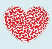 Dekorativ röd vektorhjärta Arkivfoto