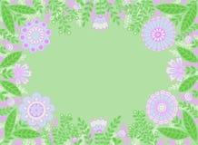 Dekorativ ram av blåa och rosa blommor på ett ljust - grön bakgrund royaltyfri illustrationer