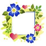 Dekorativ ram av blått- och rosa färgblommor, gräsplansidor, rosa hjärtor och gulingprickar på gul bakgrund med stället Royaltyfria Bilder