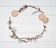 Dekorativ ram av blommor och makron på en vit träbaksida Fotografering för Bildbyråer