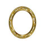 Dekorativ ram av guld- färg av en oval form Arkivfoto