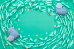 Dekorativ ram av satängbandblått Fotografering för Bildbyråer