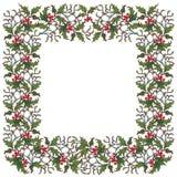Dekorativ ram för jul Järnek förgrena sig med blad och bär Mall för julhälsningkort Royaltyfria Foton