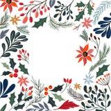 Dekorativ ram för jul med säsongsbetonade blommor och växter Fotografering för Bildbyråer