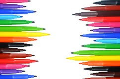 Dekorativ ram från färgrika markörer Royaltyfri Foto