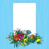 Dekorativ ram med färgrika blommor Vektor Illustrationer