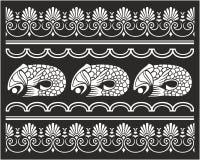 Dekorativ ram med fisken Royaltyfri Bild