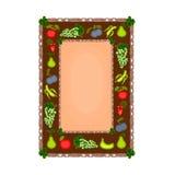 Dekorativ ram med fruktmotivvektorn Arkivbilder