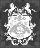 Dekorativ ram med kronan och hästar royaltyfri fotografi