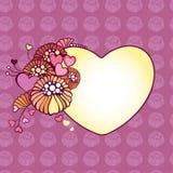 Dekorativ ram med mångfärgade blommor Stock Illustrationer
