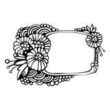 Dekorativ ram med monokromma blommor Fotografering för Bildbyråer