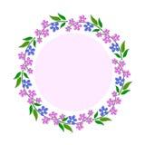 Dekorativ ram med rosa färg- och blåttblommor Royaltyfri Fotografi