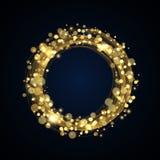 Dekorativ ramdesign för runt guld- baner vektor illustrationer