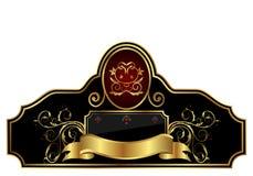 dekorativ ramguldetikett royaltyfri illustrationer