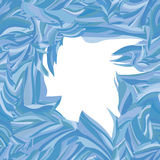 Dekorativ ramvintertextur av frostigt exponeringsglas Arkivbild