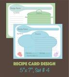 Dekorativ receptkortuppsättning, receptkortdesign Royaltyfri Foto