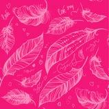Dekorativ rosa färgmodell för fjäder Stock Illustrationer