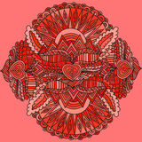 Dekorativ rund beståndsdelmodell Cirkla bakgrund med många detaljer, blickar, som handgjort, snör åt Royaltyfri Bild
