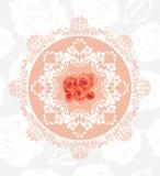 Dekorativ rund beståndsdel med rosor på den sömlösa blom- bakgrunden Arkivfoton