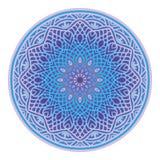 Dekorativ rund modellvektor i blåa skuggor, dekorativ utsmyckad mandaladesign i etnisk bohostil för hälsningkort, invitati Arkivbild
