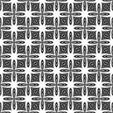 Dekorativ sömlös blom- geometrisk svart- & vitmodellbakgrund Blommor geometri stock illustrationer
