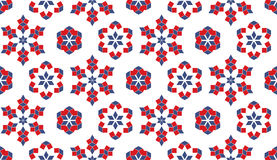 Dekorativ sömlös modell av röda och blåa geometriska beståndsdelar på vit bakgrund Arkivbild