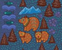 Dekorativ sömlös modell med björnar och fiskar Royaltyfria Bilder