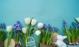 Dekorativ sammansättning för påsk på en blå bakgrund Vit kanin, tulpan, blomkrukor, omålade ägg och ett träd Royaltyfri Bild