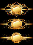 dekorativ set för guld- etiketter stock illustrationer