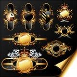 dekorativ set för guld- etiketter Royaltyfri Foto