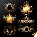 dekorativ set för guld- etiketter Fotografering för Bildbyråer