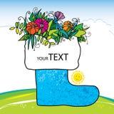 Dekorativ sko med blommor lycklig sommar Stock Illustrationer
