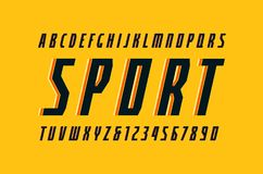 Dekorativ smal kursiv Sans Serif stilsort i sportstilen vektor illustrationer