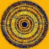 Dekorativ smyckad rund mosaikbakgrund Arkivfoto