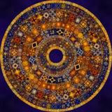 Dekorativ smyckad rund mosaikbakgrund Arkivbild