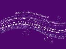 Dekorativ snövåg för jul på violett bakgrund Royaltyfria Bilder