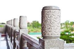 Dekorativ sniden granitledstång Royaltyfria Bilder