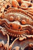 Dekorativ staty på Banteay Srei Arkivbilder