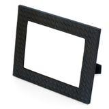 Dekorativ svart läderfotoram på vit backgroun Fotografering för Bildbyråer
