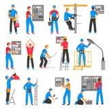 Dekorativ symbolsuppsättning för elektriskt folk vektor illustrationer