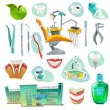 Dekorativ symbolsuppsättning för tand- kontor royaltyfri illustrationer