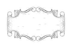 dekorativ tappning för ram Blom- hand dragen garnering stock illustrationer