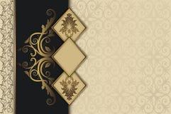 Dekorativ tappningbakgrund med guld- ramar stock illustrationer